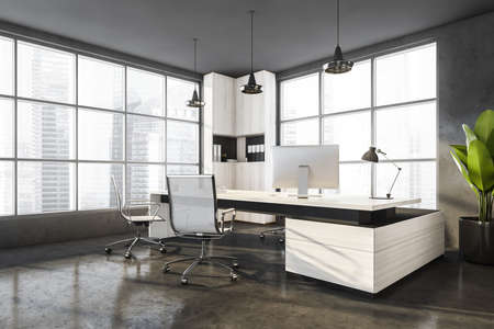 Gray wooden office manager room interior with table and desktop computer, white armchairs on concrete floor, side view. Windows with city view on skyscrapers, 3D rendering