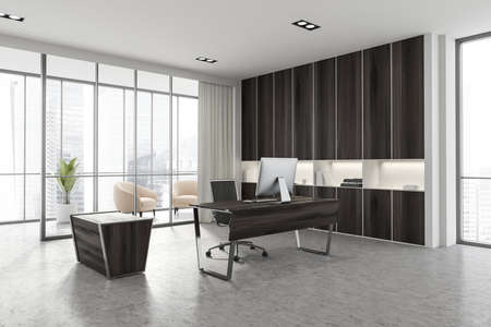 Corner of luxury Scandinavian style CEO office with white and wooden walls, computer desk and bookcase. Panoramic window with blurry cityscape and lounge area. 3d rendering