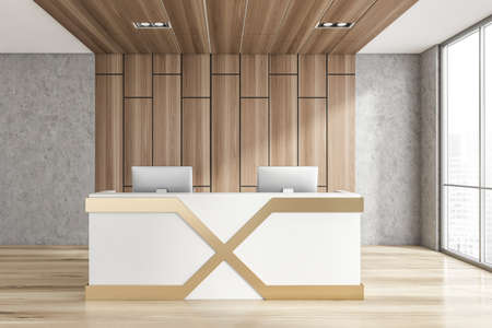 Interior of minimalistic Scandinavian style office with stone and wooden walls, wooden floor and reception counter with two computers standing on it. Window with blurry cityscape. 3d rendering Imagens