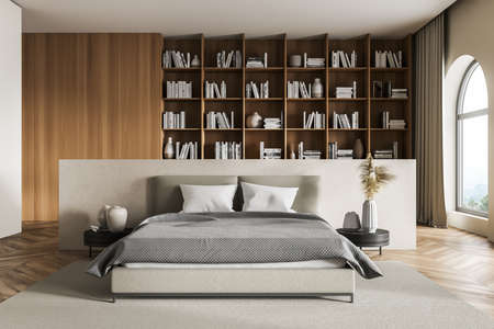 Wooden bedroom interior with bed and linens on parquet floor, big bookshelf with books and decoration, coffee table. Art bedroom with window, 3D rendering no people