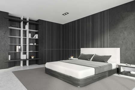 Modern stylish bedroom interior with gray walls, concrete floor, master bed and book shelf niche in the corner. 3d rendering