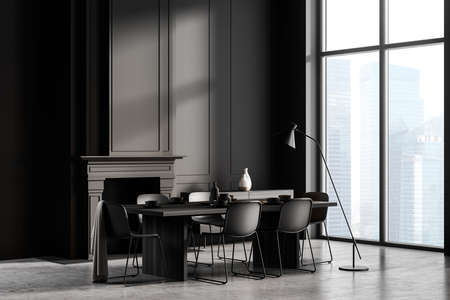 Luxury city dining room interior with gray walls, stone floor, long table with chairs, fireplace and cabinet with vases. Blurry cityscape. Hotel stayling and relaxed luxury time concept. 3d rendering Imagens