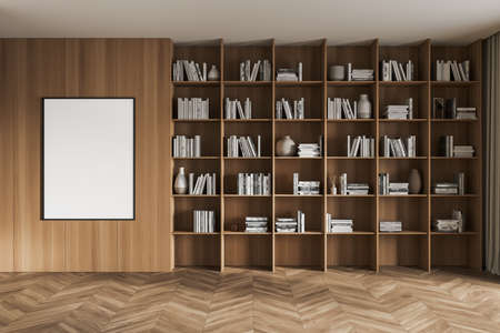 Wooden art interior with bookshelf and books with vases. One blank poster near rack, canvas on wall in library with parquet floor, 3D rendering