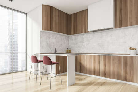 Luxurious bright kitchen interior with elegant furniture inside of spacious residential apartment. Modern concept for design and architecture. Singapore city view. Panoramic window. 3d rendering.