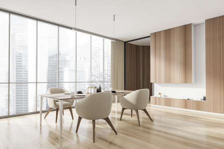 Corner of stylish and wood interior of dining room with design table and four beige chairs. Minimalist style of home decor. Parquet floor. Panoramic window with city view. 3d rendering
