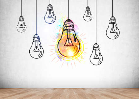 Row of multiple doodle light bulb drawn on gray background, office wooden floor, colorful shining lamp. Concept of start up and new idea