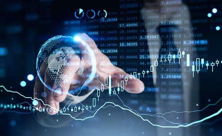 Businessman finger touch hud, virtual screen with business pie chart and changing numbers. Double exposure of lines and graphs. Concept of online trading