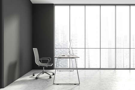 Side view of minimalistic Scandinavian style CEO office with gray walls, concrete floor, computer desk and panoramic window with blurry cityscape. 3d rendering Imagens