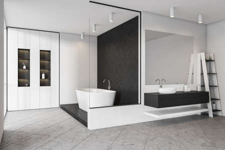 White bathing room interior with white bathtub and shelf with accessories, side view. Tiled floor and mirror with sink, rack with gels and bottles. 3D rendering