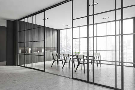 Interior design modern meeting room with panoramic windows. Contemporary conference board table. Cityscape view. 3D rendering