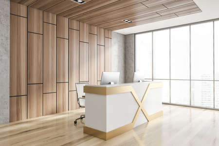 Corner of minimalistic Scandinavian style office with stone and wooden walls, wooden floor and reception counter with two computers standing on it. Window with blurry cityscape. 3d rendering