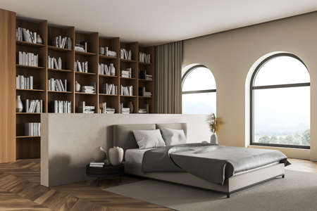 Wooden bedroom interior with bed and coffee table on parquet floor, big bookshelf with books and decoration, side view. Art bedroom with panoramic window, 3D rendering no people