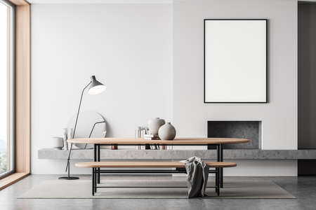 Light art room interior with fireplace, wooden table with bench on carpet, gray concrete floor. Mockup blank frame in guest room near window, books and decoration, 3D rendering Imagens