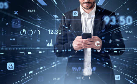 Office man typing in smartphone, suit and beard. Blue icons hologram of digital interface, pie chart and personal data storage. Concept of information protection and business technology