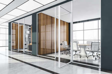 Business private meeting room interior with white armchairs and table, side view. Panoramic windows with city view, hall in office building, 3D rendering no people Imagens