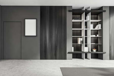 Luxurious bright living room interior with furniture and gray door, in residential apartment. Modern concept for design and architecture. Bookshelf niche. Mock up poster on wall. 3d rendering.