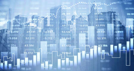Digital HUD financial graph interface in blurry city. Stylish background. Concept of stock exchange and investment. Toned image