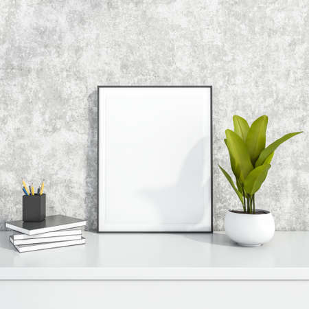 Photo frame stand, the green plant in the flowerpot and the pencil holder on the books, all locating on the single surface close to the wall behind. Mock up. 3d rendering.