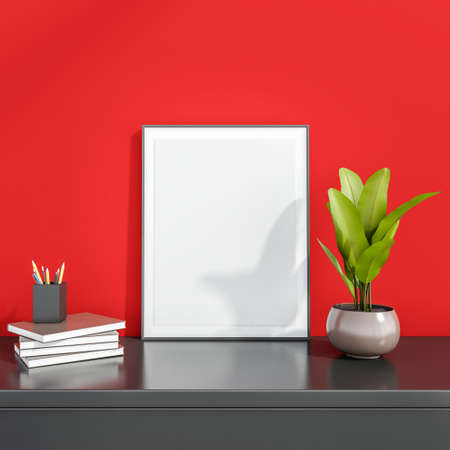 Photo frame in the center with the four books, the pencil holder with plant in flowerpot on the gray surface, attached close to the red wall. Mock up. 3d rendering. Banque d'images
