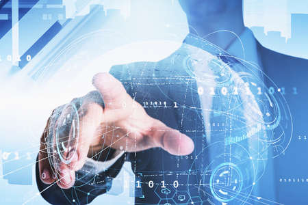 Businessman wearing formal suit is touching the hologram of globe with his finger. Skyscrapers in background. Digital interface with bar diagram. Concept of cloud data storage and information security