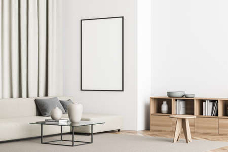 Empty poster on the wall of minimalist white and beige living room with sofa, coffee table, rug, stool and sideboard. Parquet. A concept of modern house design. Mockup. 3d rendering 免版税图像