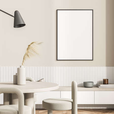 Poster on the beige wall of the living room interior with the round dining table, a shelf and a lamp. A concept of modern house design. Mockup. 3d rendering