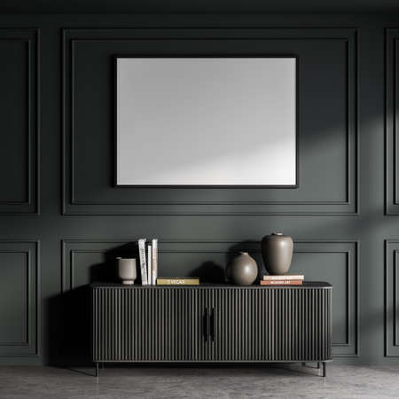 Horizontal white poster in a dark green area with wall molding and sideboard with wood top panels. Concrete flooring. A concept of modern living room design. Mockup. 3d rendering