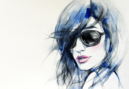 lady shopping: woman portrait .abstract watercolor .fashion background