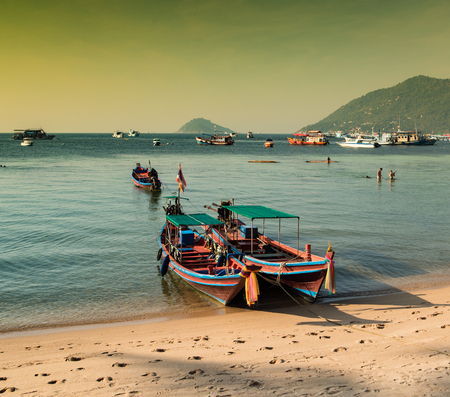 Traditional thai boats. Koh Tao - Thailand