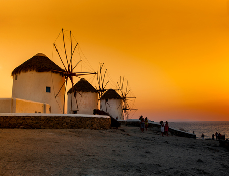 Famous windmills in Mykonos at sunset