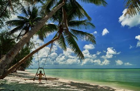 サムイ島のロマンチックなビーチ。タイ