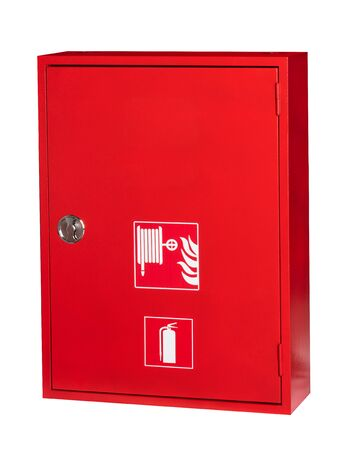 Industrial fire equipment cabinet in white background