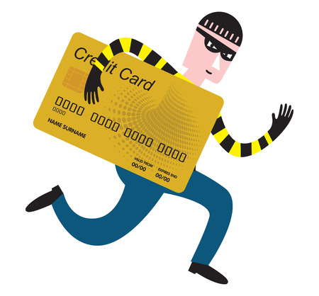 A thief with a credit card  illustration Vector