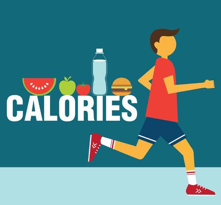 calories: Running man calories vector illustration