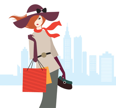 scarves: Shopping Day Woman Illustration