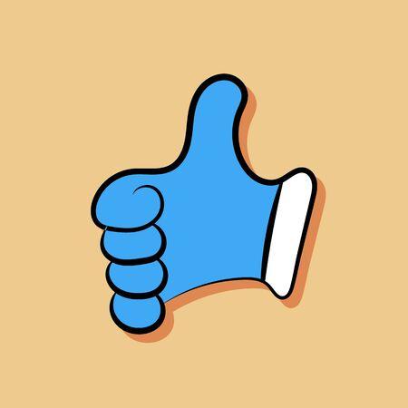 flat like blue showing hand illustration