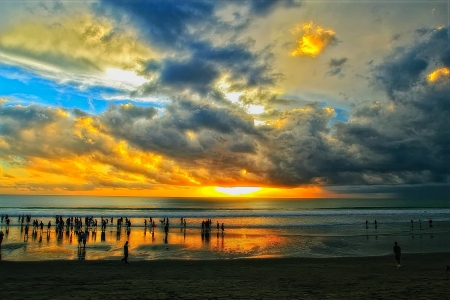 sunset at kuta beach Stock Photo