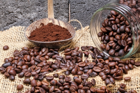 coffee beans and jar Stock Photo
