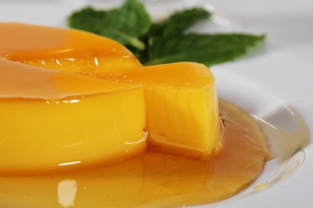 orange pudding, isolated white background