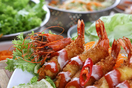 plating: fried prawn Stock Photo