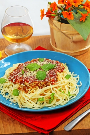 whine: spaghetti, isolated on white Stock Photo