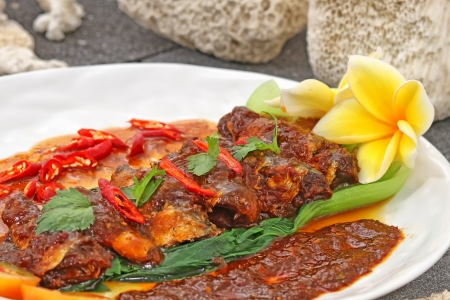spicy sardines, Indonesian food Stock Photo