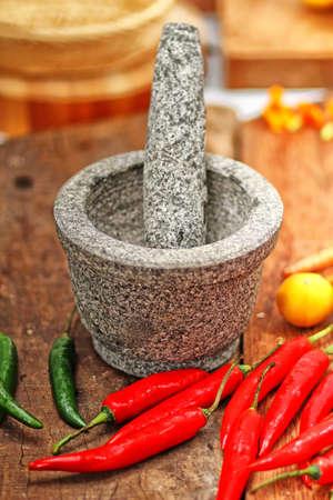 pounder: stone mortar and pestle, kitchen urensil