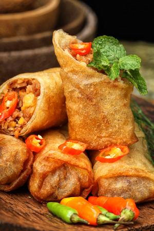 Lumpia Semarang, spring roll Indonesian cuisine Stock Photo