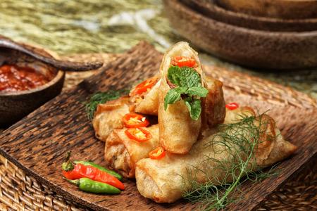 common bean:  Lumpia Semarang, spring roll Indonesian cuisine Stock Photo