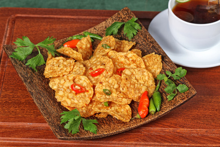 fried and spicy tempeh, Indonesain food
