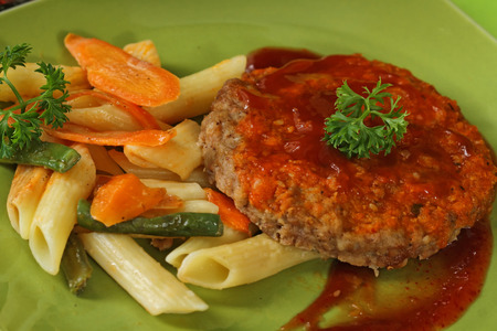 burger meat with sesame sauce photo