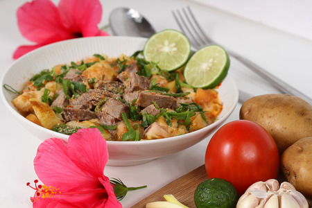 soto betawi, Indonesian meat soup Stock Photo