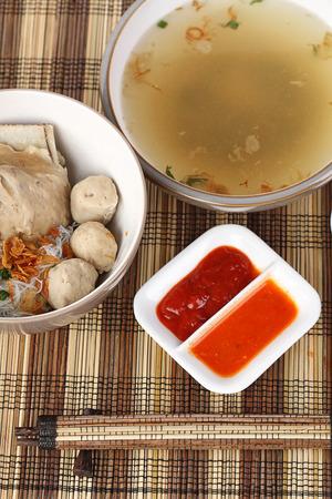 bakso iga, ribs meat balls soup, Indonesian cuisine photo