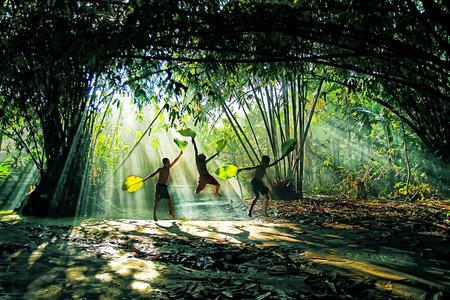 Village people activities under ray of lights